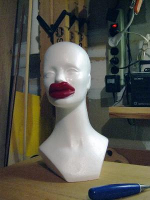 Wax Lips on Wig Block